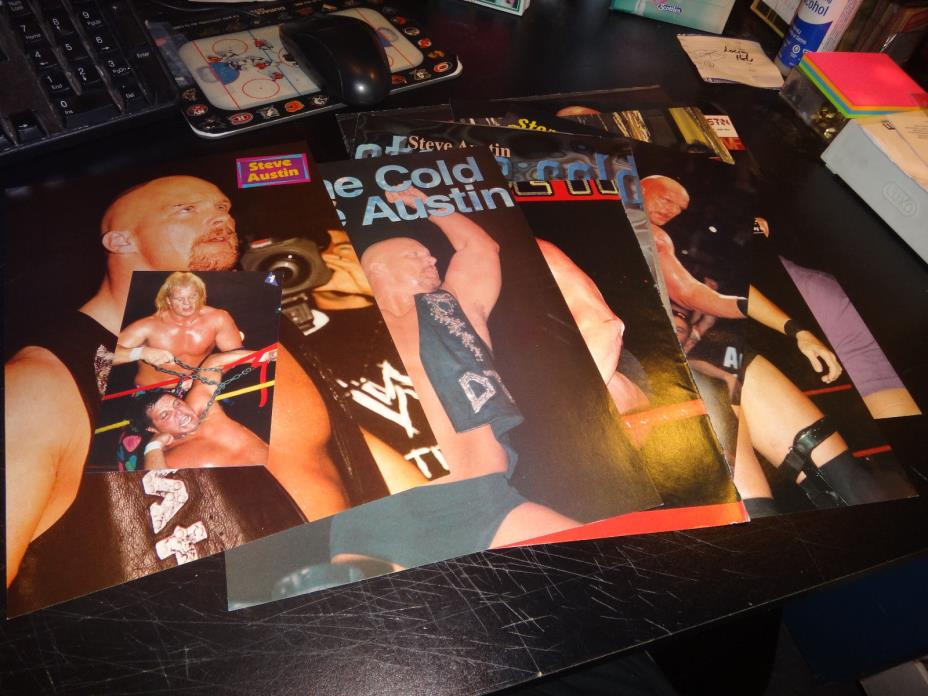 stone cold steve austin Wrestling Photos pictures pin-up lot of 52 +- wwf uswa