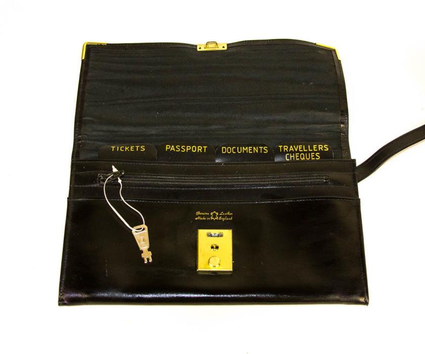 Black Vintage Locking Leather Passport Case Wallet Wristlet W/ Key - England NOS