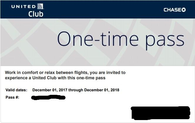 One (1) United Club Pass. Expires 12/1/2018 - Email Delivery only