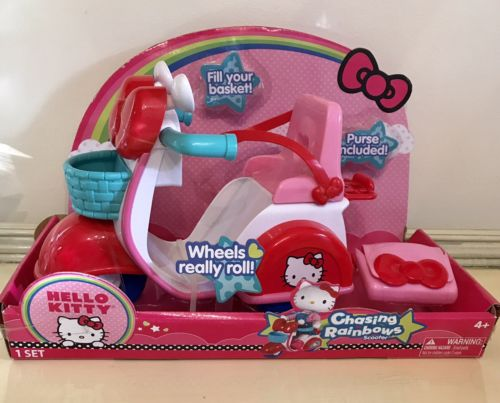 Hello Kitty Chasing Rainbows Doll Scooter Fits 10-16 inch Dolls + Purse Basket