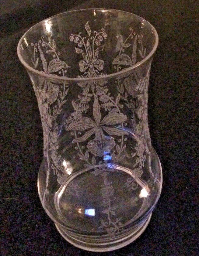 Heisey Orchid Crystal Clear Flat Bottom Ice Tea Glass