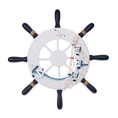 12.5 Inch Ship Helm Wheel Ornamental Home Nautical Rustic Wall Marine Decor Wood