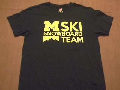 MICHIGAN UNIVERSITY WOLVERINES SKI SNOWBOARD TEAM T-SHIRT-MED RARE SNOWBOARDING
