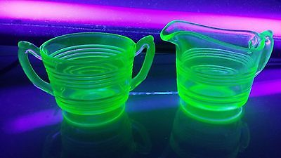 Antique Depression Green Uranium Glass Hocking Ring Pattern Sugar Bowl Creamer