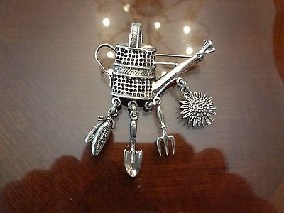 VINTAGE MEXICO 925 STERLING SILVER PIN OR PENDANT WATERSPOUT WITH CHARMS