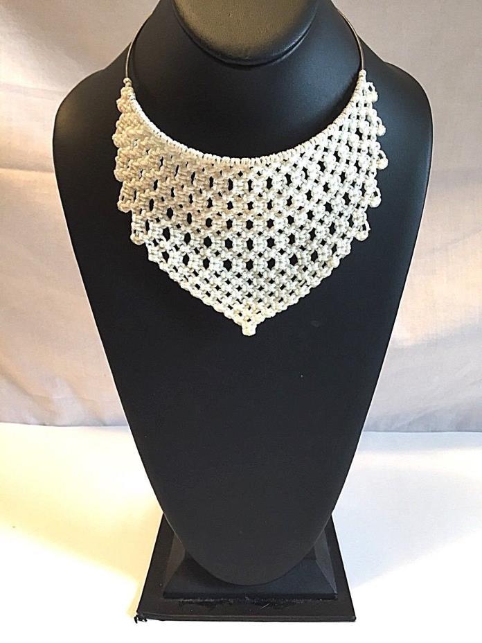 Vintage Macrame Choker Statement Necklace White Bib Style OOAK