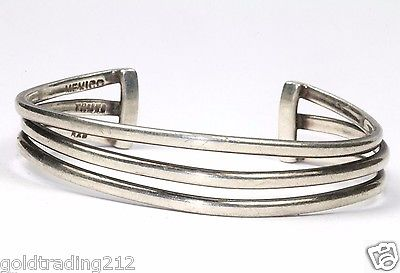 VINTAGE MEXICO THREE BARS CUFF BRACELET 925 STERLING BR 486