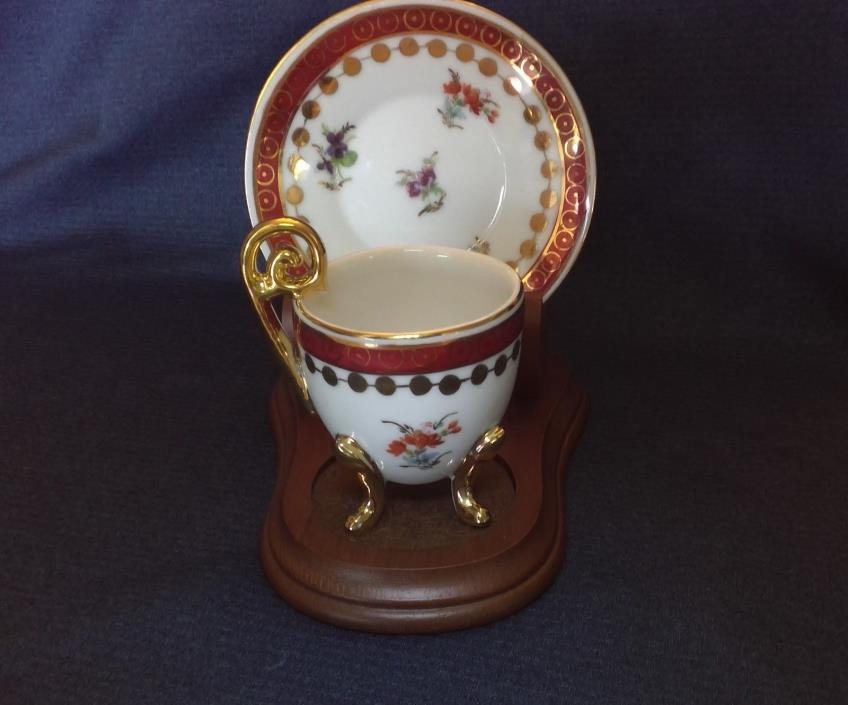 Vintage KPM Handpainted Flowers DEMITASSE CHOCOLATE CUP AND SAUCER Gold Gilded