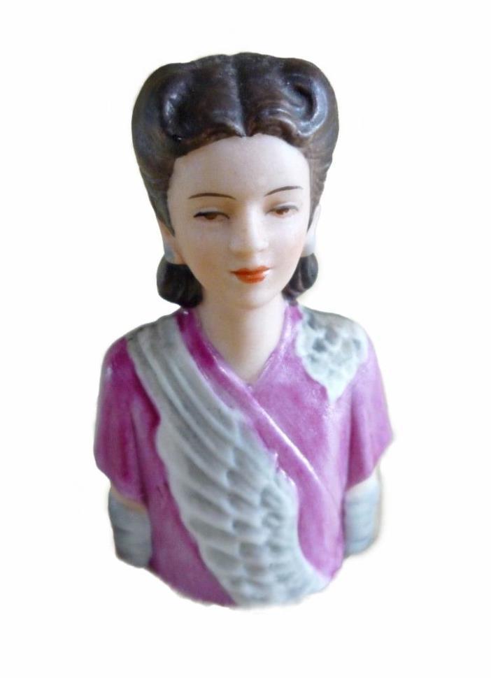 Avon Fashion Lady Thimble #1 Handpainted Porcelain Bisque
