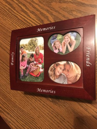 Family Friends Memories Glass Picture Photo Mirror  Wooden Jewelry Box