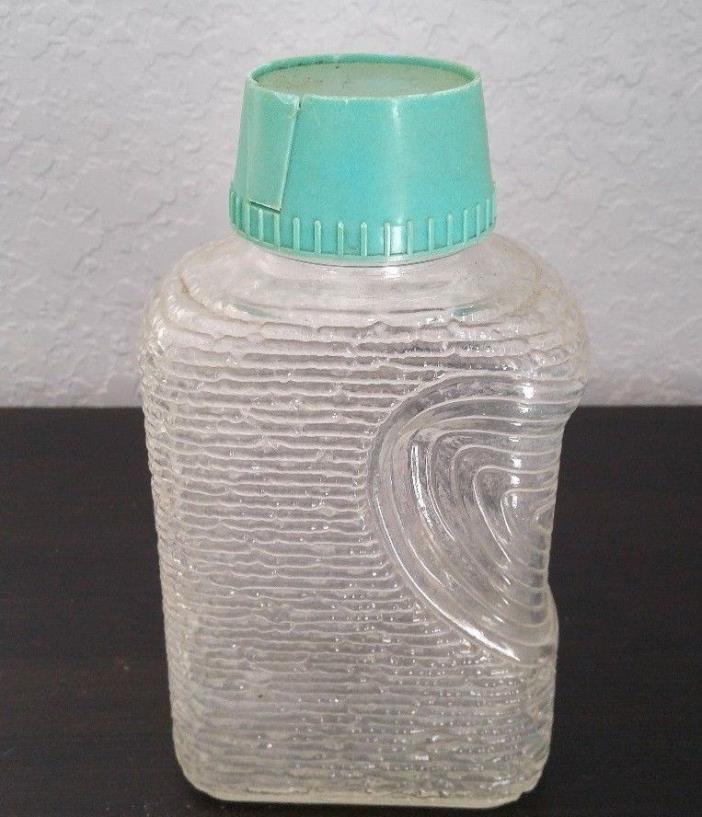 Vintage Glass Container with Blue Plastic Pour Lid 9