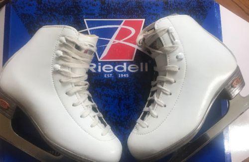 Riddell Ice Figure Skate Model 15 White Width Med Size 13 1/2 J  Blade:GR4 Ice