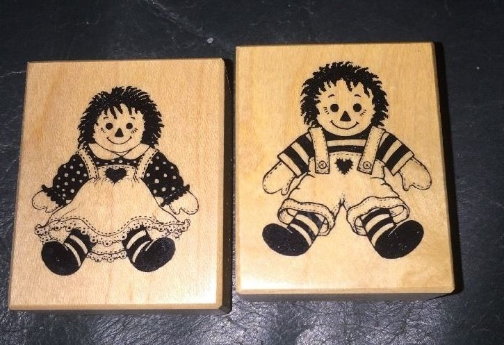 Raggedy Ann Andy Rubber Stamp Lot of 2 PSX  #C-889 #C-890 1999 Un-inked