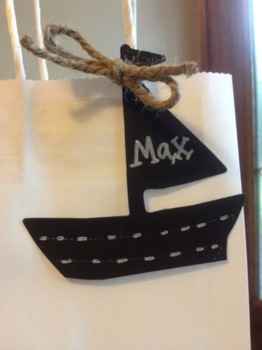 24 Chalkboard Nautical Sailboat Birthday shower party favor tags labels w/rope
