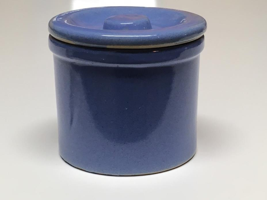 Vintage Butter Cheese Crock Blue Stoneware with Lid
