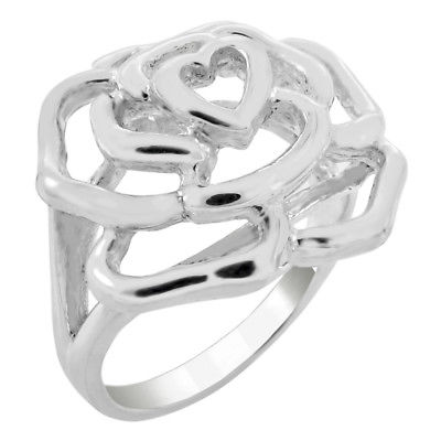 Womens 925 Sterling Silver Rose High Polish Ring
