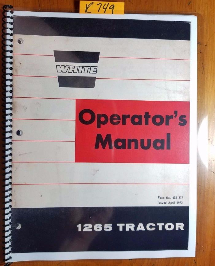 WFE White Oliver Cockshutt 1265 Tractor Owner's Operator's Manual 432 317 4/72