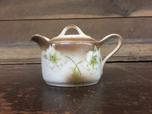 Vintage German Hand Painted Porcelain Creamer Pot With Lid And Handle 4