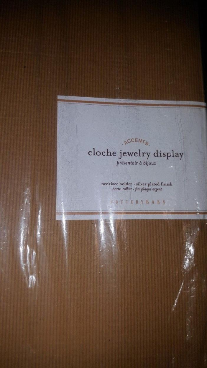 POTTERY BARN GLASS CLOCHE NECKLACE HOLDER, LARGE, SILVER, NEW