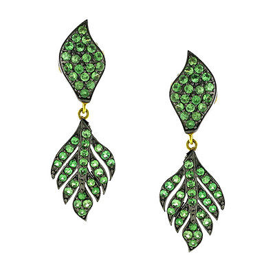 925 Sterling Silver Tsavorite Gemstone Leaf Design Dangle Earrings Vintage Style