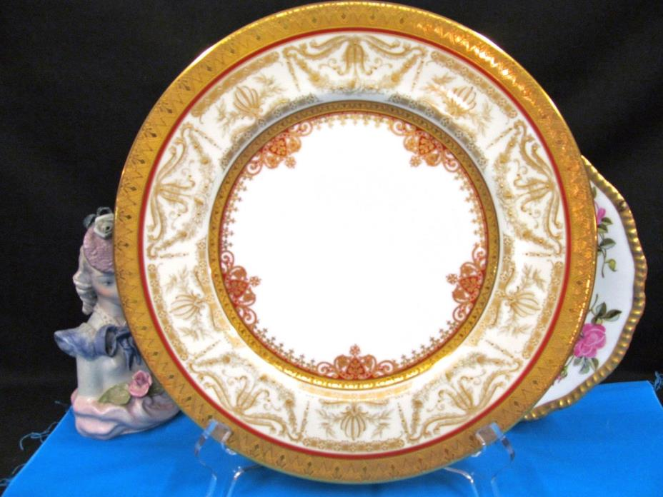LIMOGES FRANCE STUNNING PAINTED RAISED AND BEADED GOLD GILT CHARGER GOLD PLATE