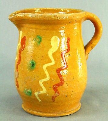 ! Antique Yellow-Glaze Earthenware Polychrome Slip Pitcher Ewer Jug Yellow-ware