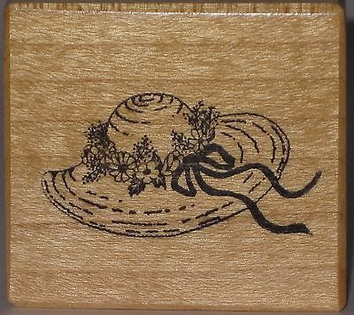 PSX Rubber Stamp - Straw Hat or Bonnet with Flowers