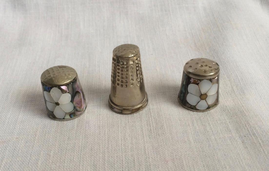 Three Abalone Mother of Pearl & Metal Vintage Thimbles