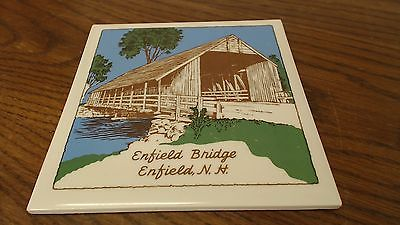 Enfield Covered Bridge Enfield NH Tile Trivet Vintage   #3Z