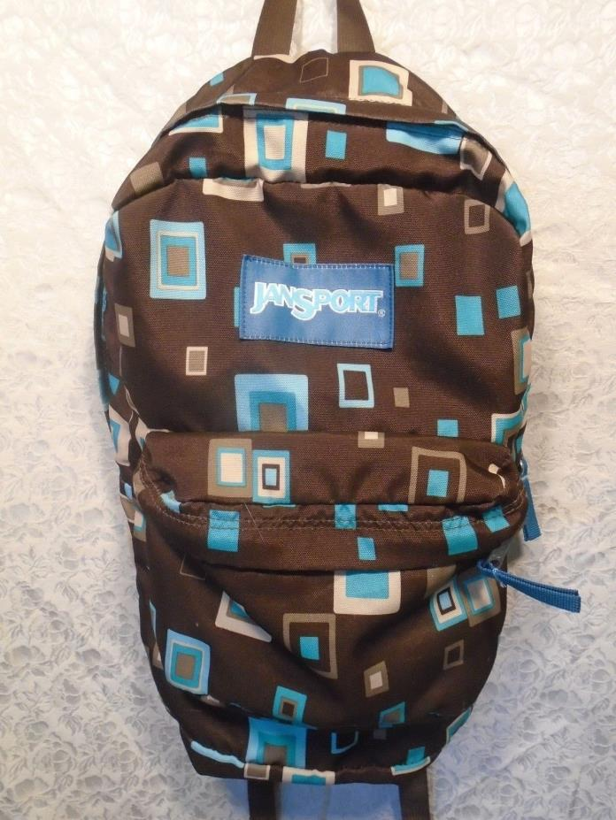 JanSport Backpack 2 Pouch Brown/Turquoise Square Pattern