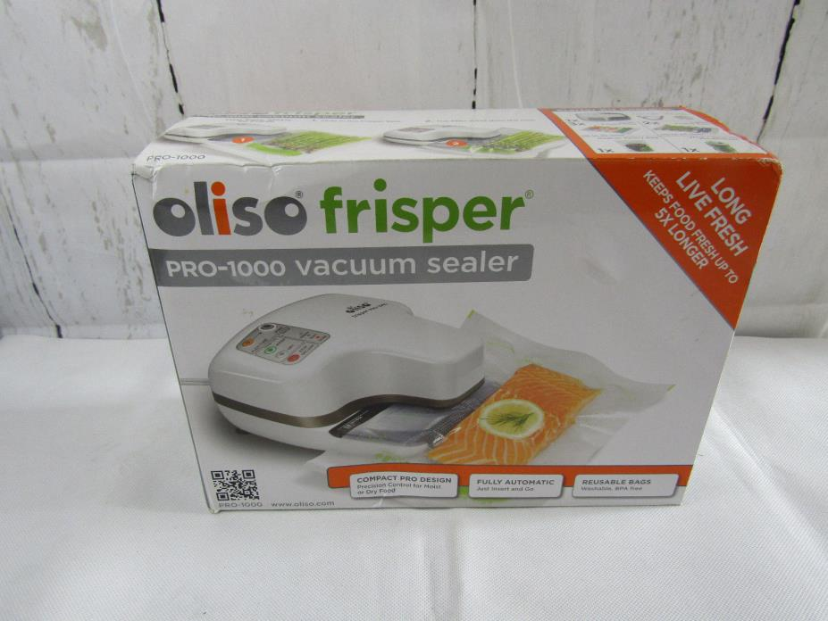Oliso Pro Frisper PRO-1000 Smart Vacuum Sealer Starter Kit, White - NEW Open BOX