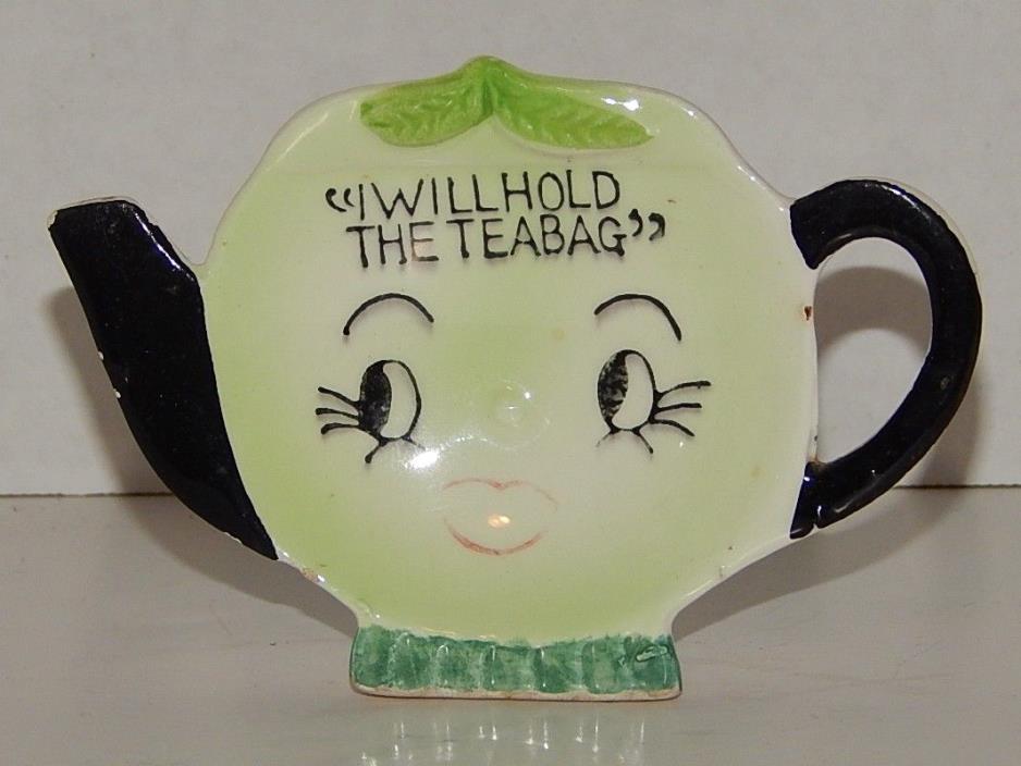 Vintage Japan Ceramic Teapot Lime Tea Bag Holder  I Will Hold The Teabag