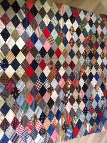 VINTAGE ANTIQUE QUILT TOP COTTON PATCHWORK HAND And Machine STITCHED