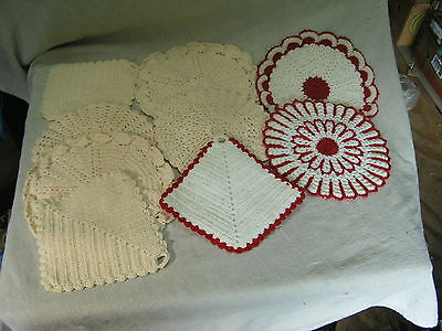 Vintage lot 9 hand made doilies red / white / peach