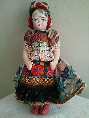 Antique vintage doll, textile fabric body, plaster/porcelain face