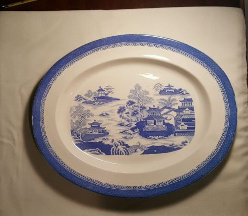 ANTIQUE COPELAND SPODE STAFFORDSHIRE POTTERY TRAY PLATTER BLUE & WHITE - 17