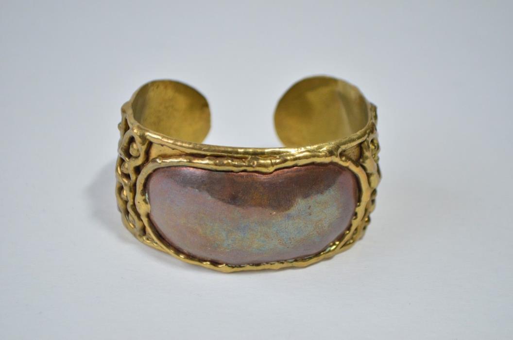 Vintage Handcrafted Brass Copper Cuff Bangle Bracelet