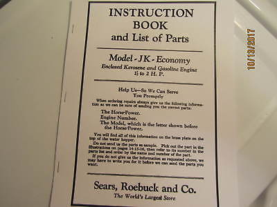 1931 Sears Economy model JK Gas Kero Engine  Instruction/Parts Catalog Manual
