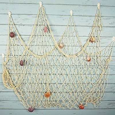 Rustic Decorative Fishing Net Wall With Seashells, Nautical Style Hangings White