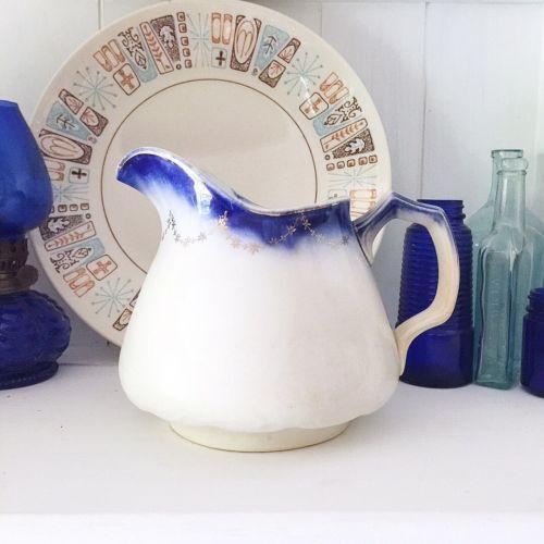 Vintage La Francaise Semi Vitrsous Pitcher Blue Rim Gold Trim Ironstone Ceramic