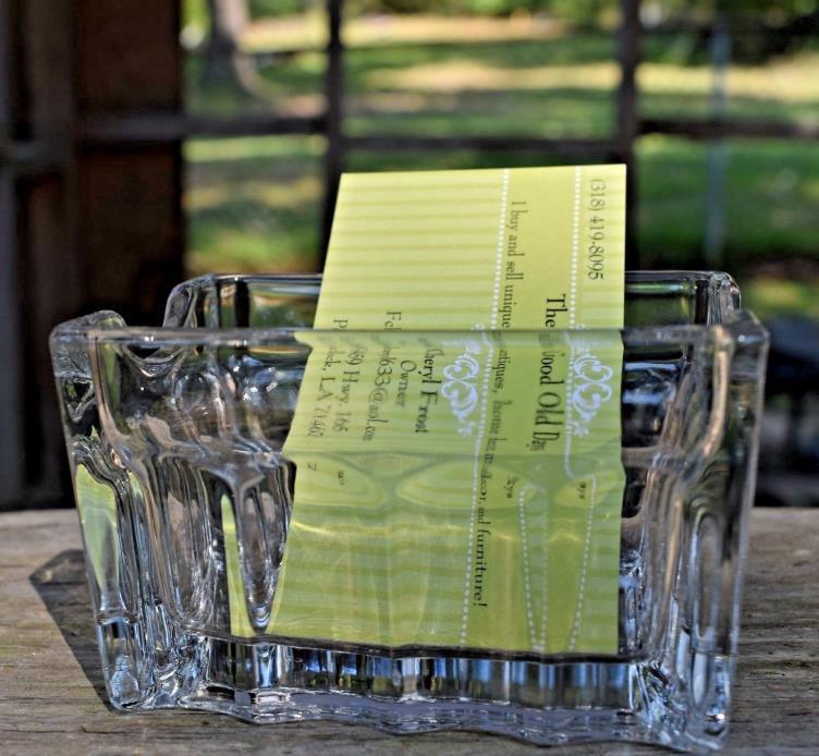 Vintage Sugar packet Clear Glass Holder Restaurant ware OR Business card Holder