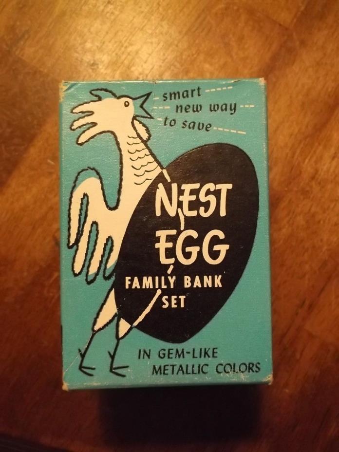Vintage Ehlbert Prod. Nest-Egg Nesting Banks -Set Is Missing 1 Bank - Includes 3
