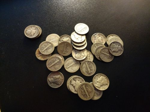 $3.10 FACE VALUE of MERCURY DIMES 90% SILVER (LOT OF 31 COINS)