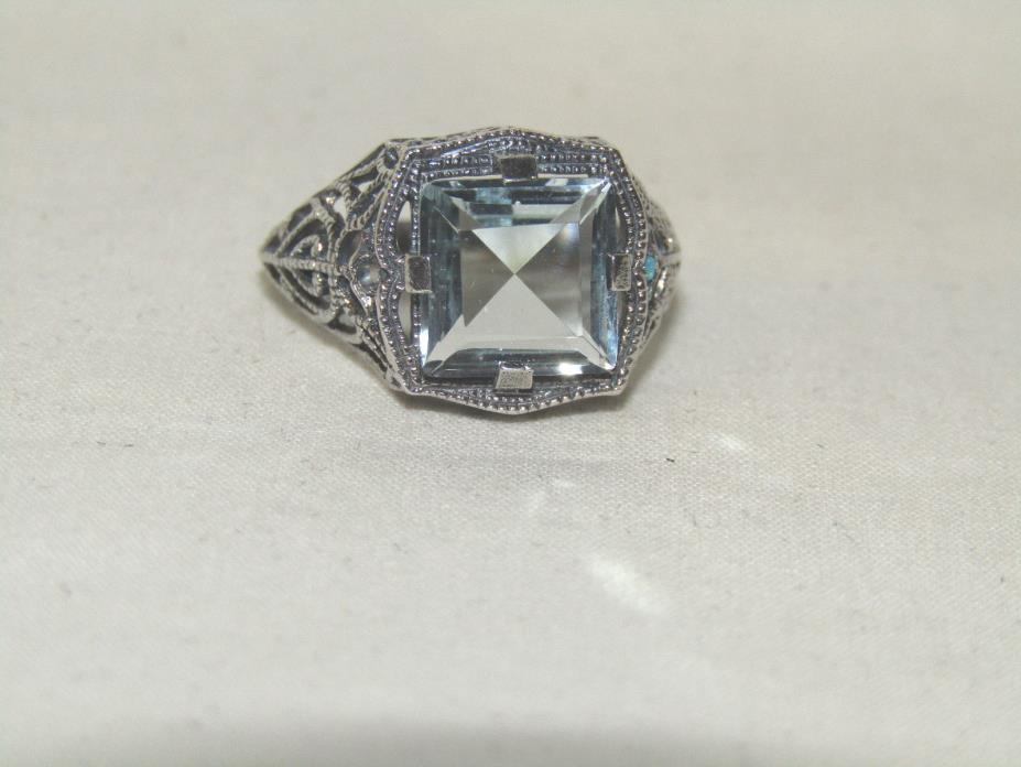 Lovely Estate 3 ct Natural Blue Topaz 925 Sterling Silver Filigree Ring Sz 6