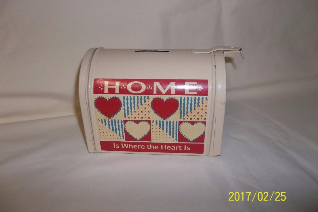 DECORATIVE COIN MONEY BANK -  MAIL BOX SHAPE - METAL - 4 1/4 x 5 1/4 INCHES