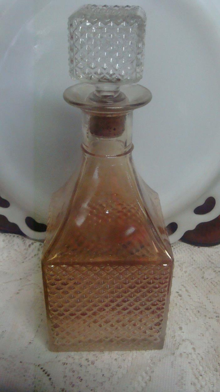 Vintage Old Forester Carnival Glass Whiskey Bottle Decanter Marigold Diamond