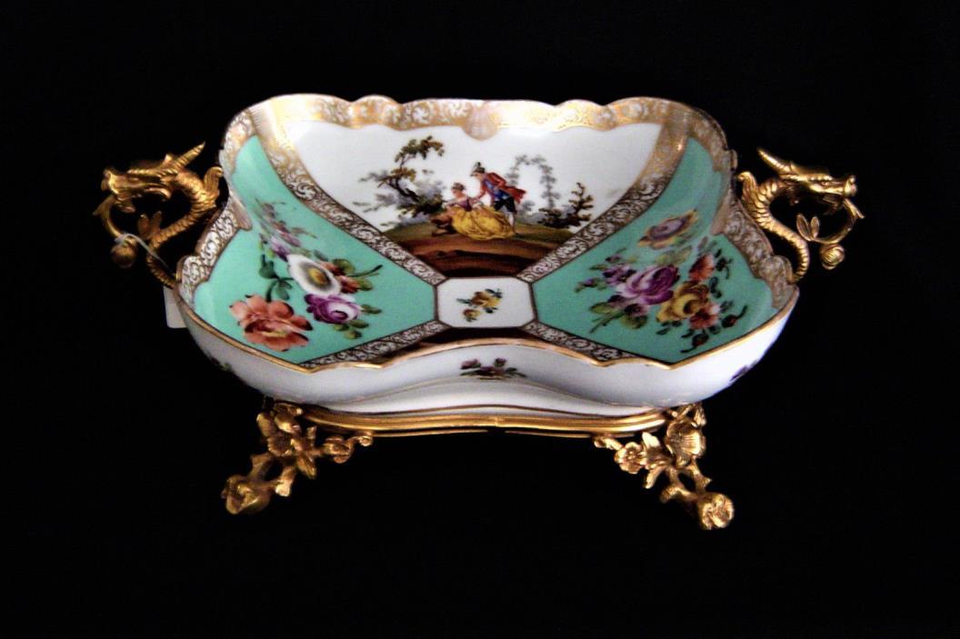 Handpainted Dresden Bowl with a Gilt Bronze Holder Circa 1850