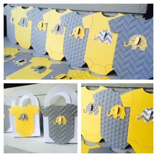 12 Elephant Baby shower favor boxes  Grey & Yellow Embossed Chevron Onezie