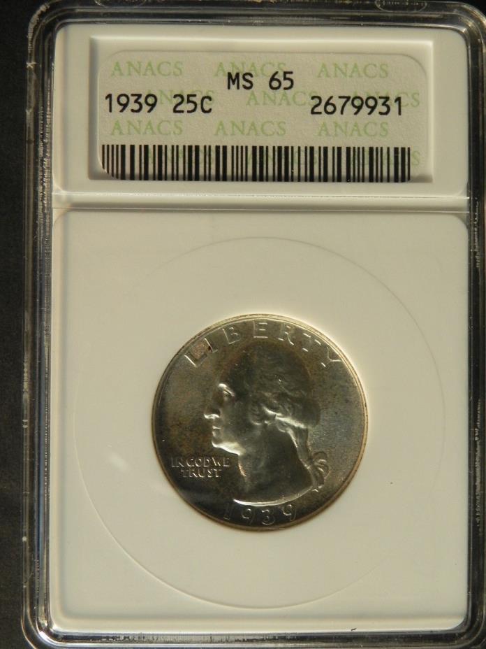 *1939* WASHINGTON QUARTER. ANACS MS65 GRADED, CERTIFIED