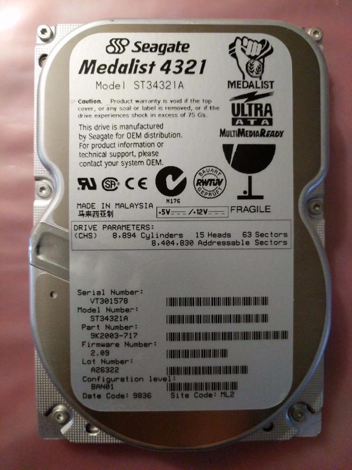 ST34321A, XTF, SZ, PN 9K2003-305, FW 3.11, Seagate 4.3GB IDE 3.5 Hard Drive 4321